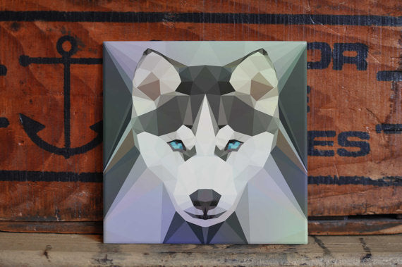 Husky Ceramic Tile Coaster Set Artwork Trivet Hot