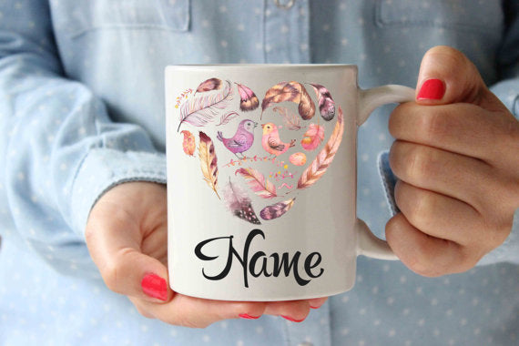 Coffee Mug | Feathers Family Name Personalized Mug - Lewis Luxury Furniture and Interior Design
