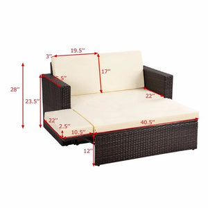 2PCS Patio Rattan Loveseat Sofa Ottoman - Lewis Luxury Furniture and Interior Design
