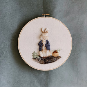 Felted Bunny Embroidery Hoop