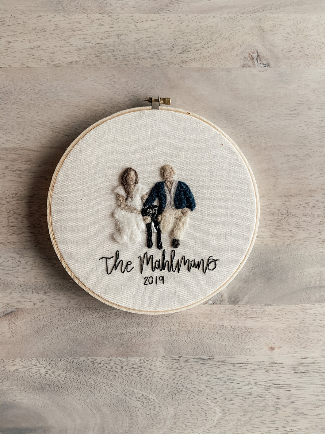 Felt Family Portrait Embroidery Hoop