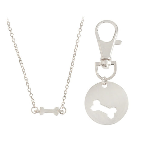 2 PC Bone Owner and Dog Charm Necklace Set (Silver or Gold)