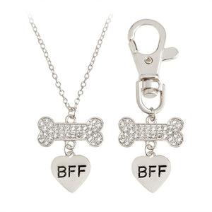 2 Pc BFF Bone Owner and Dog Charm Necklace Set (Silver or Gold)