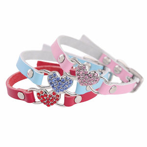 Rhinestone Crystal Heart Collar - Posh Puppies Boutique