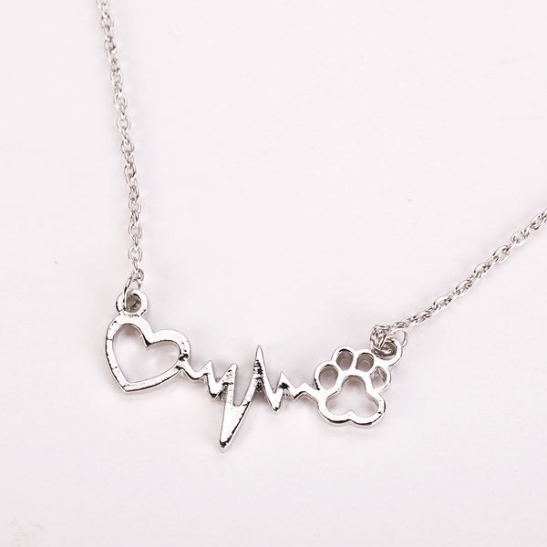 Paw Print Heart Line Necklace (3 Colors) - Posh Puppies Boutique