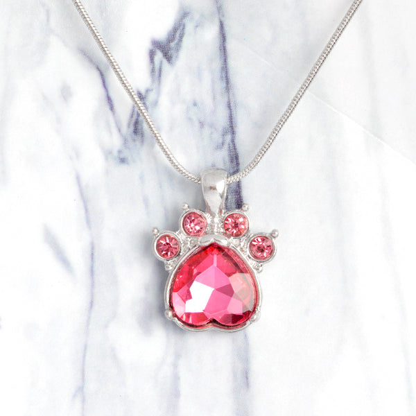 Crystal Paw Print Birthstone Necklace - Posh Puppies Boutique