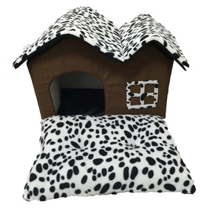 Cushion Soft Spotted House Bed - Posh Puppies Boutique