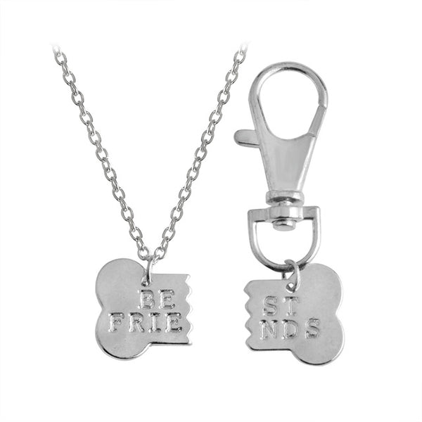 2 PC Bone Owner and Dog Charm Necklace Set (Gold or Silver) - Posh Puppies Boutique