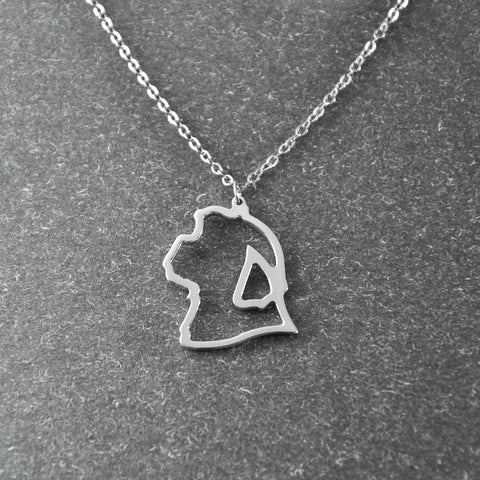 Shih Tzu Profile Pendant Necklace