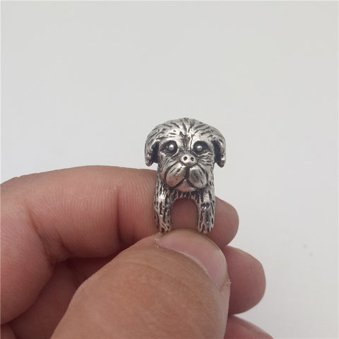 Antique Silver Adjustable Shih Tzu Ring - Posh Puppies Boutique