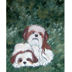 Shih Tzu Dogs Diamond Cross Stitch Embroidery Painting Hobby Kit - Posh Puppies Boutique