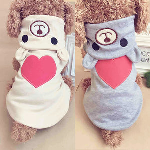 Adorable Heart Bear Hoodie Outfit - Posh Puppies Boutique