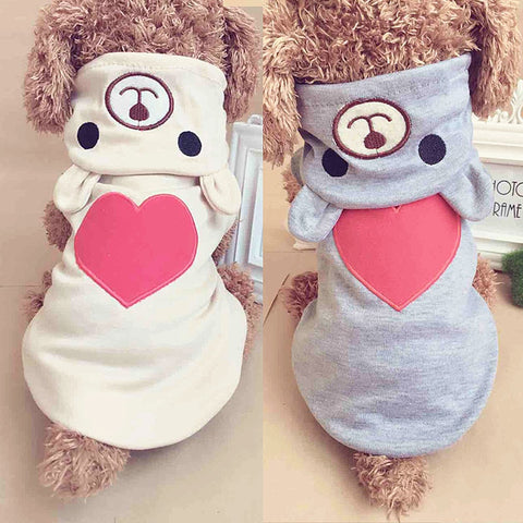 Adorable Heart Bear Hoodie Outfit