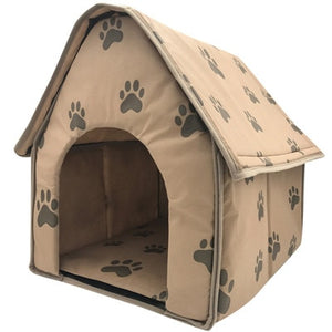 Adorable Paw Print Dog House Bed