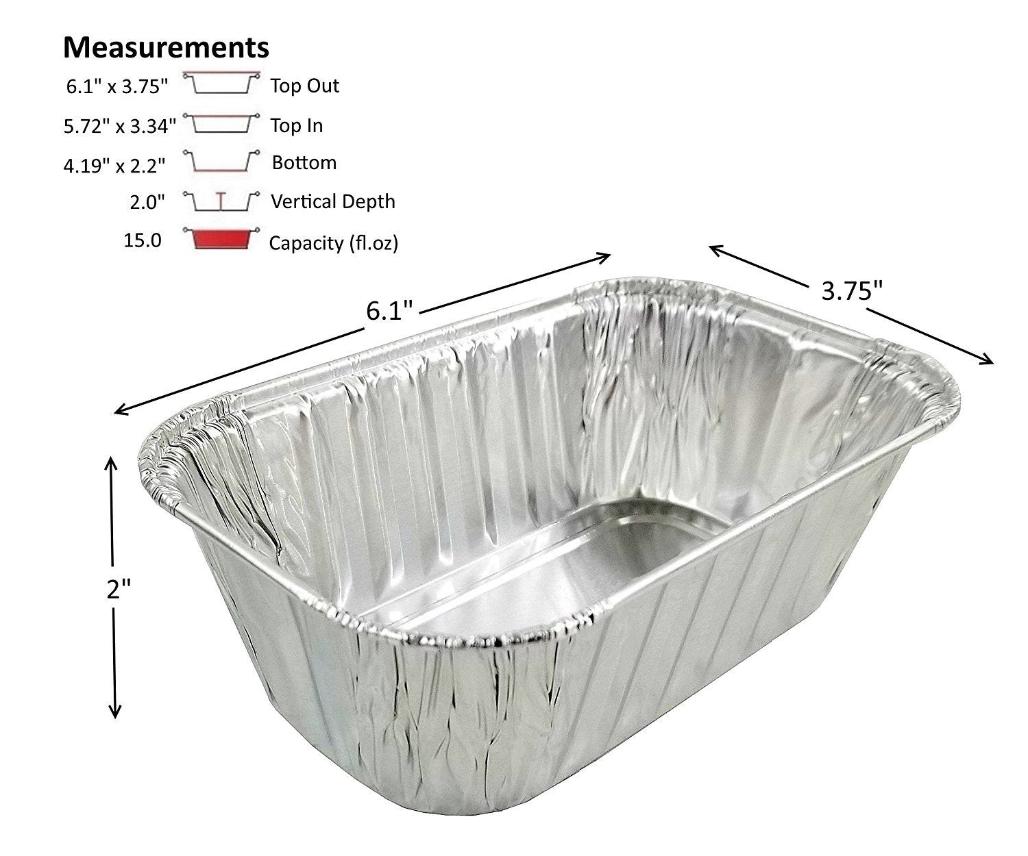 1 lb.  Aluminum Foil Mini-Loaf Pan w/High Dome Lid 50/PK