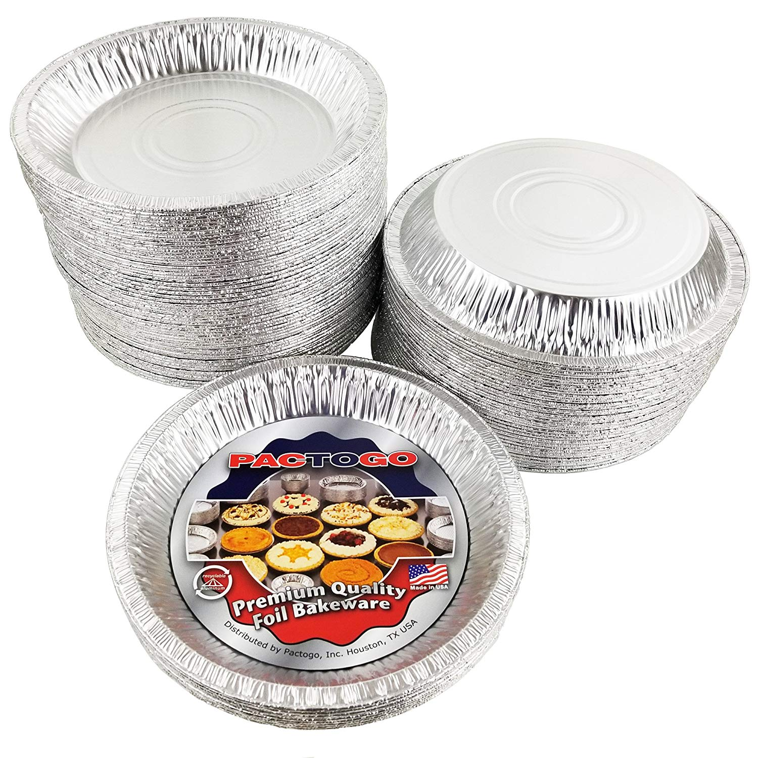 "Pactogo 10"" Foil Pie Pan 1-3/16"" Deep w/Clear Low Dome Clamshell Container Combo 50/PK"