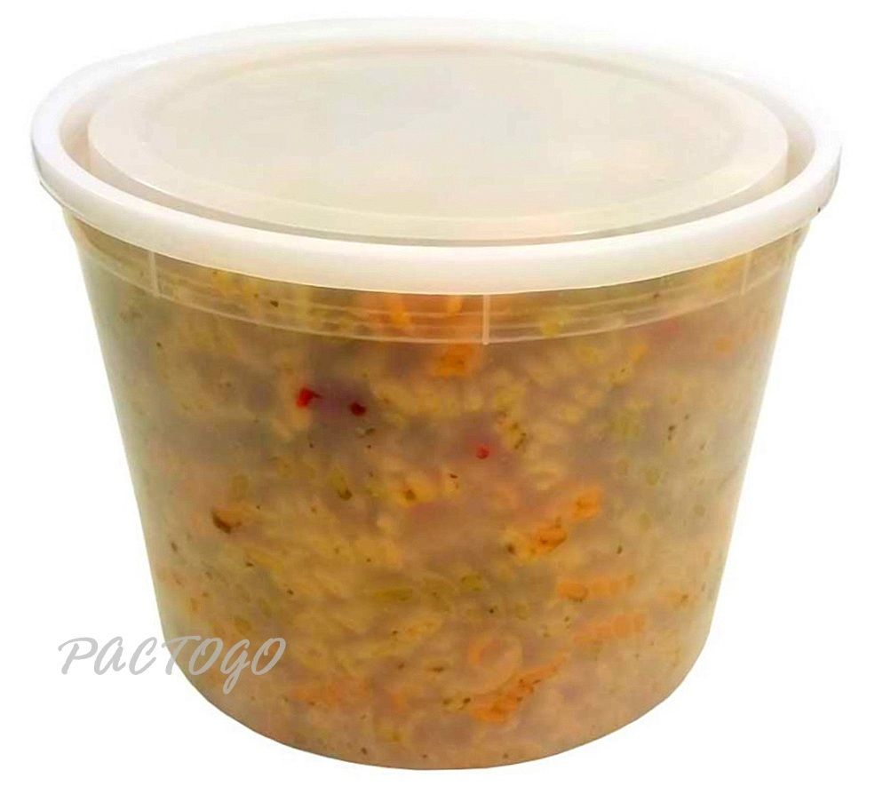 128 oz. Round Plastic Heavy Duty Soup Container w/Lid Combo