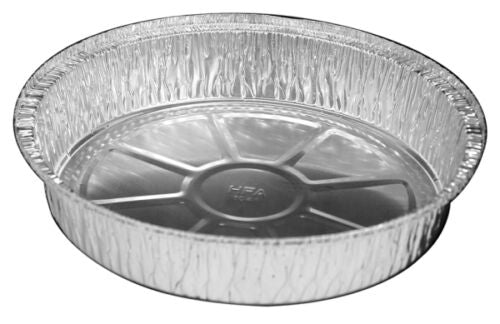 "9"" Round Foil Take-Out Pan w/Board Lid Combo Pack 200/CS"