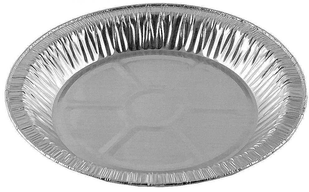 "9"" Foil Pie Pan 1"" Deep w/Clear Low Dome Clamshell Container Combo 50/PK"