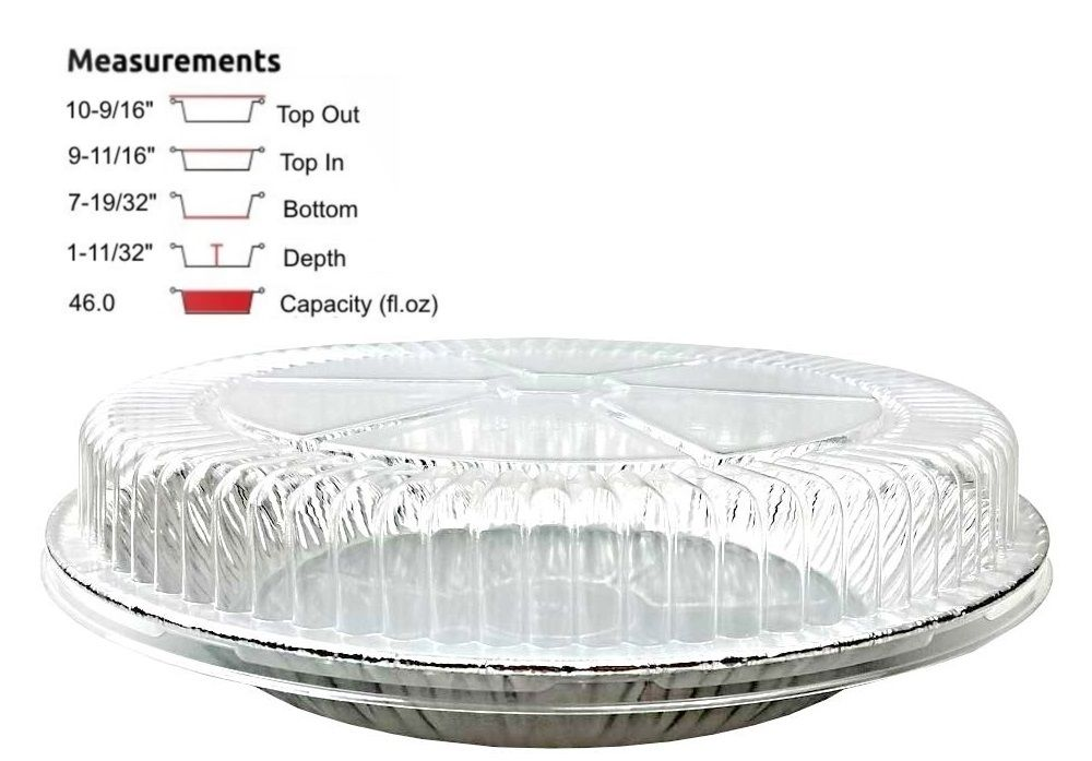 "11"" Extra Deep Foil Pie Pan 1-11/32"" Deep w/Clear Dome Lid"