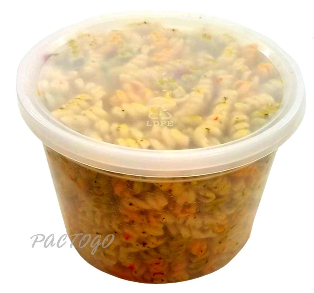 64 oz. Round Plastic Heavy Duty Soup Container w/Lid Combo