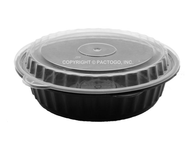 "24 oz. Round Black  7"" Container w/Lid Combo 50/PK"