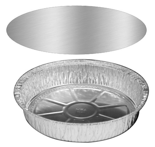 "8"" Round Foil Take-Out Pan w/Board Lid"