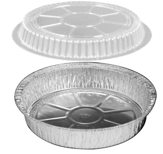"8"" Round Foil Take-Out Pan w/Dome Lid"