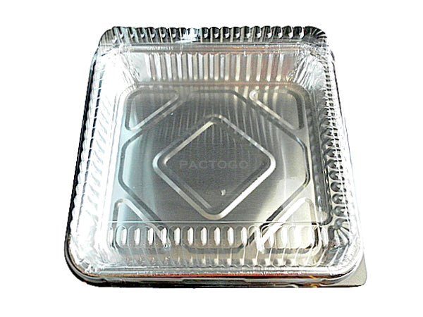 "8"" Square Cake Foil Pan w/Clear Dome Lid"