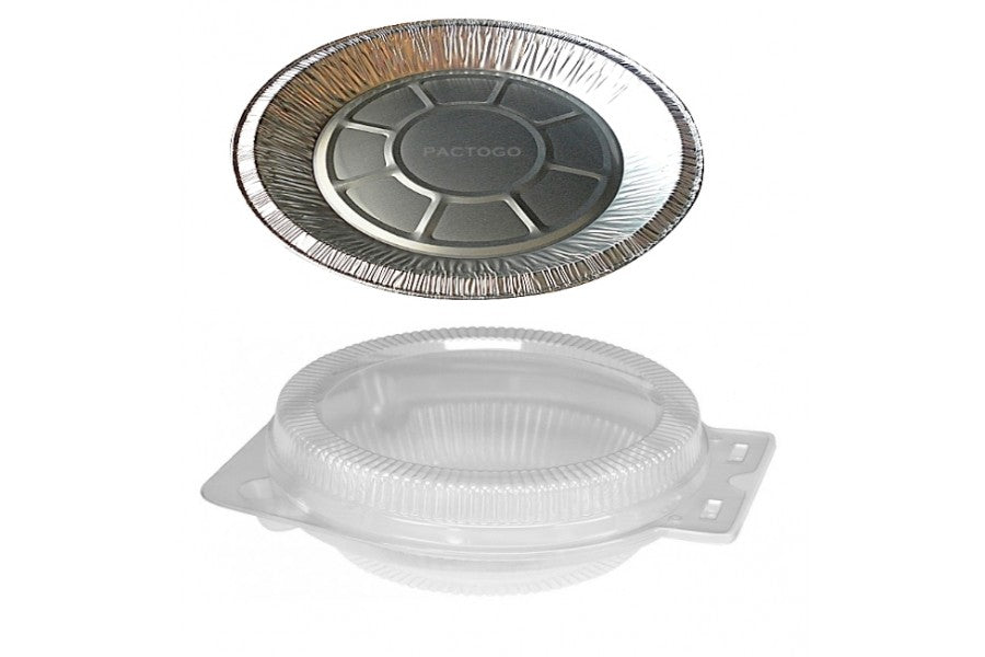 "9"" Foil Pie Pan 1-5/16"" Deep w/Clear Dome Clamshell Container Combo 50/PK"