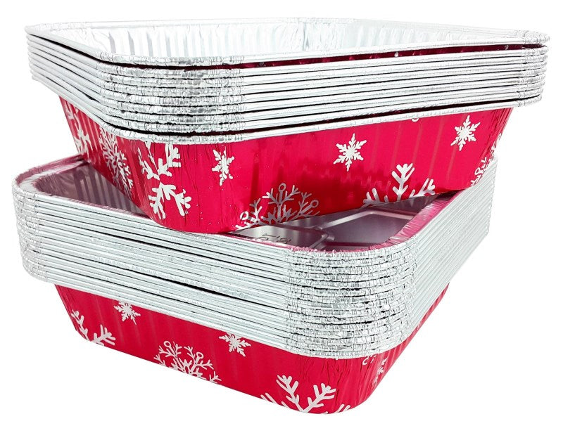 "9"" Square Holiday Foil Cake Pan w/Dome Lid"