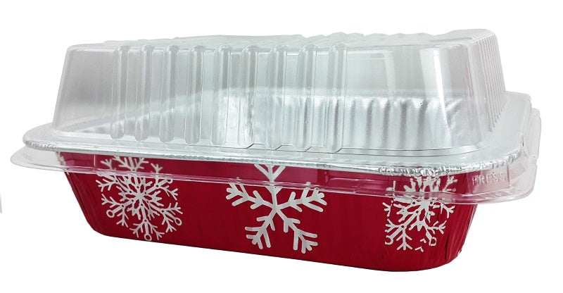 "9"" Red Holiday Square Cake Pan w/Dome Lid"