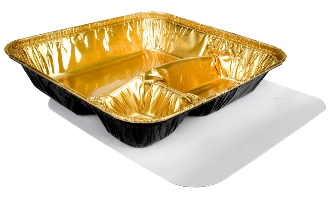 Durable Packaging Large 3-Compartment Black & Gold Oblong TV Dinner Aluminum Foil Pan w/Board Lid 250/CS