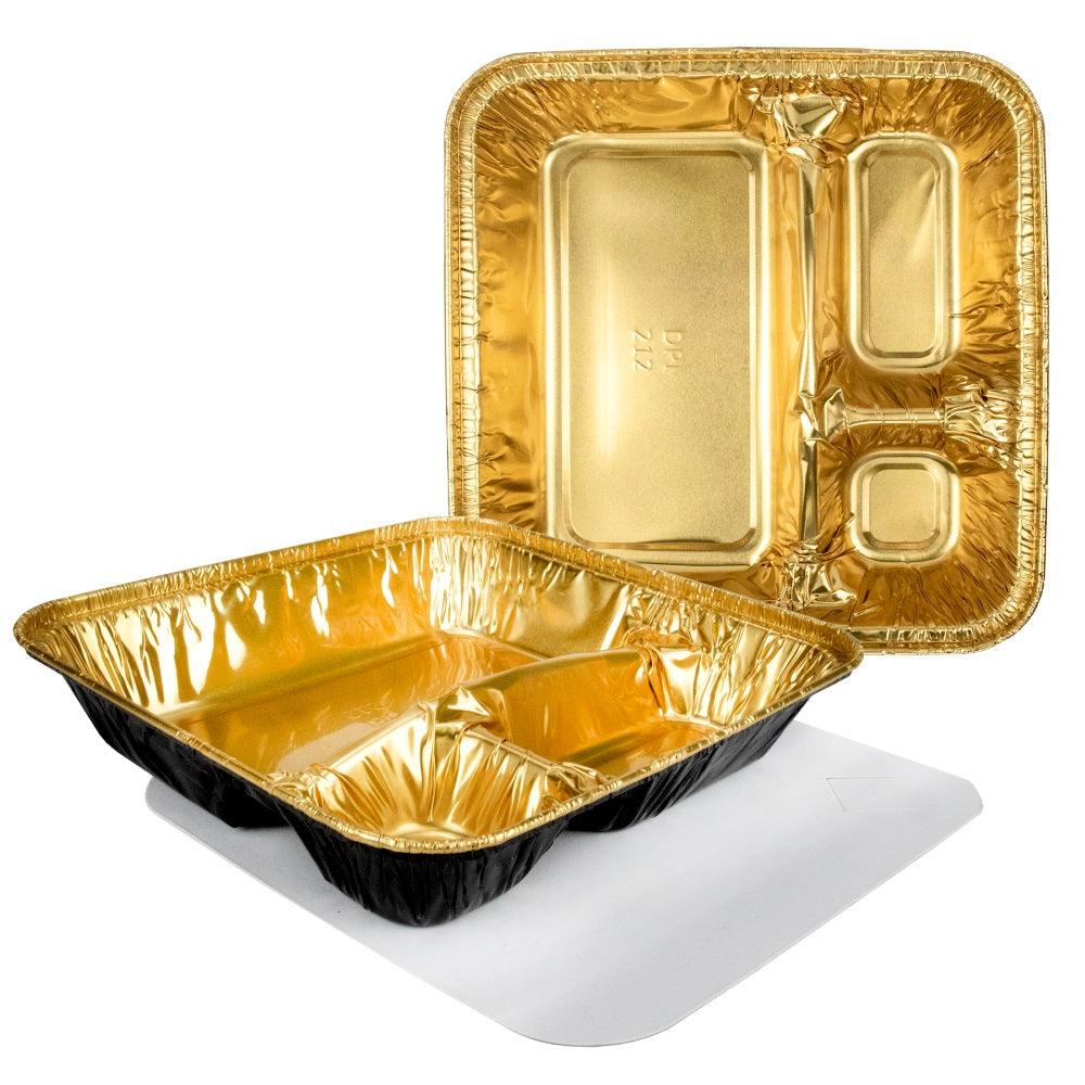 Durable Packaging Large 3-Compartment Black & Gold Oblong TV Dinner Aluminum Foil Pan w/Board Lid 50/CS
