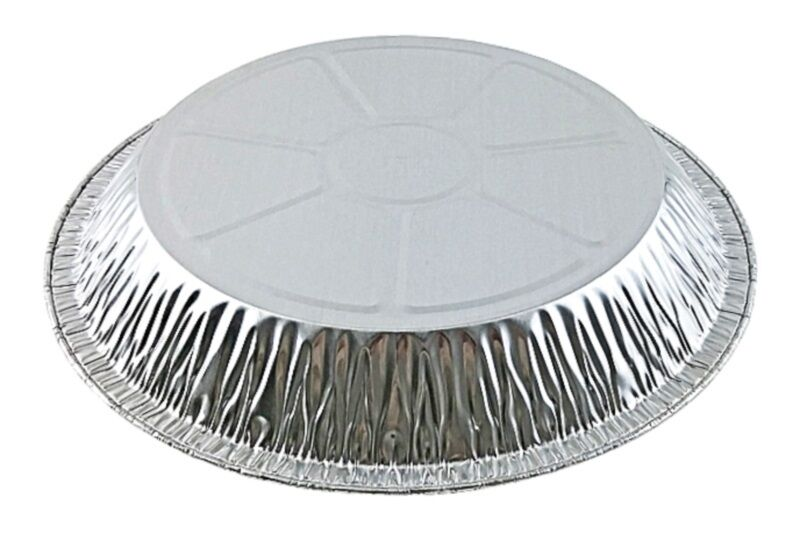 "Handi-Foil 11"" Extra Deep Foil Pie Pan 1 13/32"" Deep w/Clear Dome Lid 50/PK"