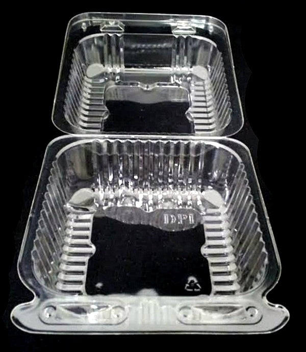 "6"" Large Square Clear Hinged Container"