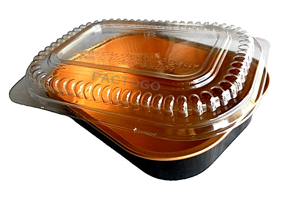 Small Black & Gold Oblong Foil Pan w/Dome LId
