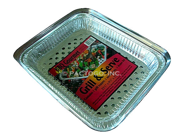 Grill N Serve BBQ Foil Pan w/Clear Lid