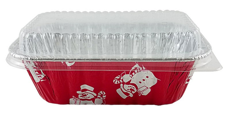 Handi-Foil 1 lb. Red Holiday Snowman Pan w/Low Dome Lid