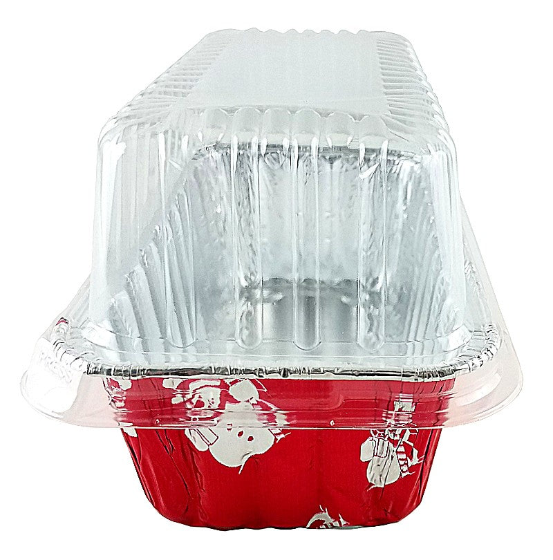 Handi-Foil 2 lb. Red Holiday Snowman Loaf Bread Pan w/High Dome Lid
