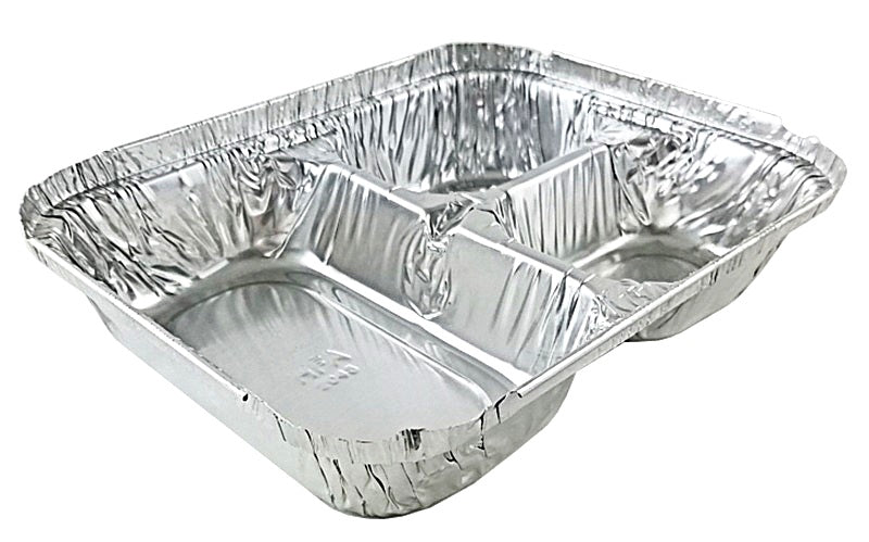 Handi-Foil 3-Compartment Oblong Foil Pan w/Board Lid Combo Pack 50/PK