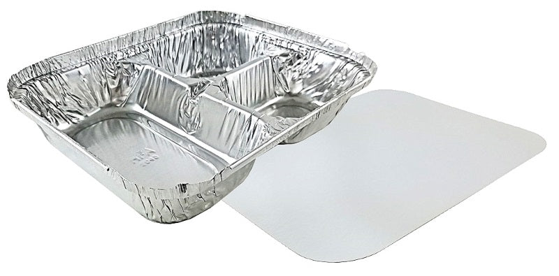 Handi-Foil 3-Compartment Oblong Foil Pan w/Board Lid Combo