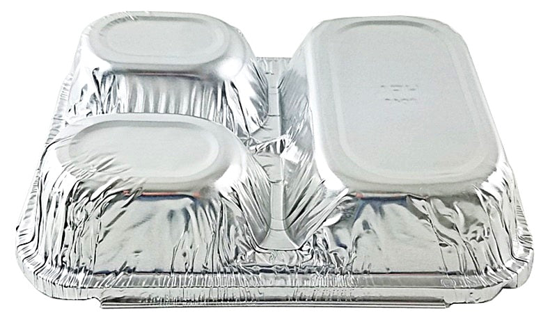 HFA 3-Compartment Oblong Foil Pan w/Board Lid Combo Pack 250/CS