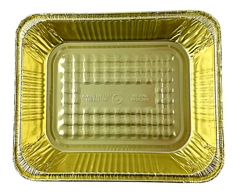 Handi-Foil Half-Size Deep Black & Gold Steam Table Foil Pan