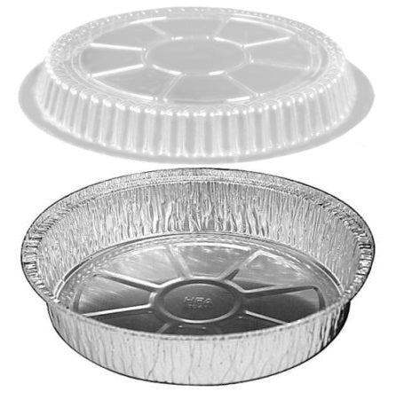 "HFA 10"" Round Foil Take-Out Pan w/Dome Lid"