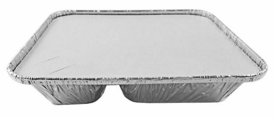 Large 3-Compartment Oblong TV Dinner Aluminum Foil Pan  w/Board Lid