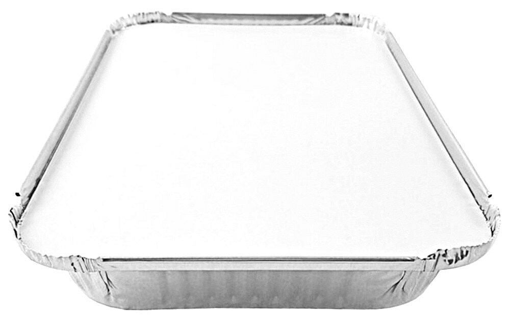 4 lb. Oblong Shallow Entrée Foil Take-Out Pan w/Board Lid