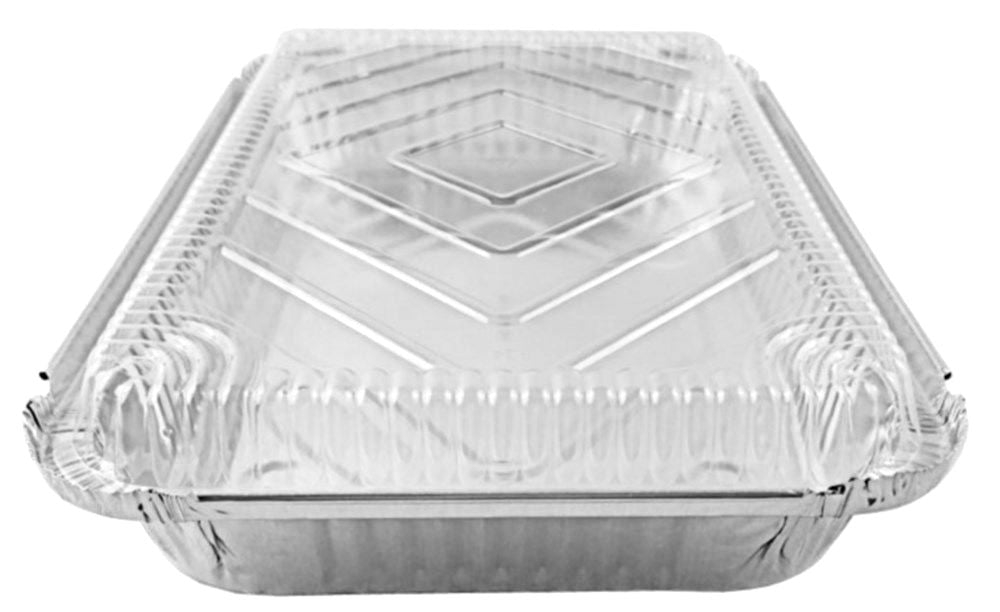 4 lb. Oblong Shallow Entrée Foil Take-Out Pan w/Dome Lid
