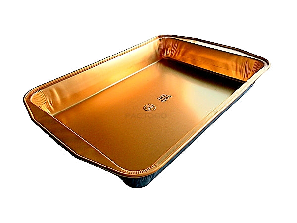 Extra-Large Rectangular Black and Gold Entrée Pan w/Clear Dome Lid