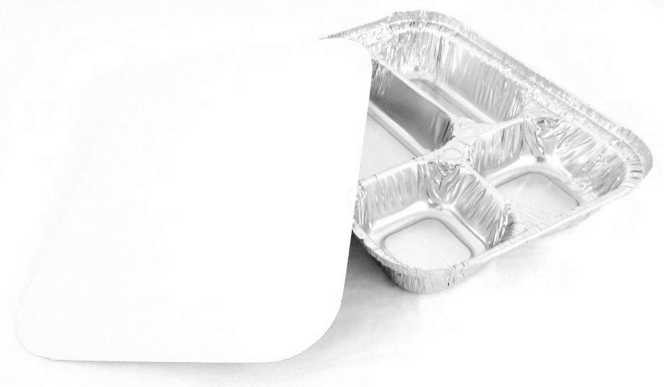 4-Compartment Oblong Foil Pan w/Board Lid